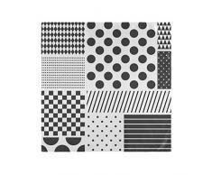 Tovaglioli di Stoffa Polka Dots Patchwork Tavolo Bianco Nero Cena Riutilizzabile Lavabile in Interni Facile da Pulire 20x20 Pollici