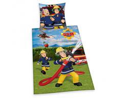 Herding - Biancheria da letto per bambini, soggetto: Sam il pompiere, colore: rosso, Cotone, multicolore, 135 x 200 cm