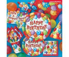 Unique Party 23603 - Tovaglia Plastificata Palloncini di Compleanno, 213 x 137 cm