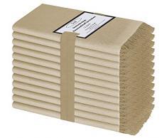 Baumwolle-Klinik 12 Pezzi Tovaglioli Stoffa 50 x 50 cm Cotone 100%, Morbidi e Confortevoli, qualità alberghiera duratura, Tovaglioli Cotone con Le Frange, Beige