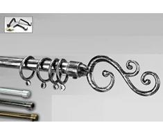 Idea casa: Bastone asta per tenda con finale lavorato, regolabile da cm 125 a cm 235 in ferro decorato con kit di montaggio; decoro bianco argento, nero argento, nero oro, nero bronzo