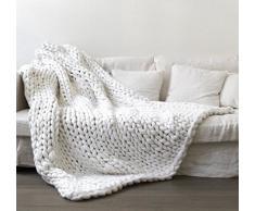 Coco detto fatto a mano gigante Chunky lana per maglia, caldo coperta divano coperta tessuta a mano ingombranti Home Decor Gift Christmas Gift, White, 32''x40''(80x100cm)