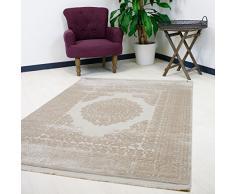 Vintage tappeto Velour in beige Medaglione con struttura 3d di alta qualità webung per soggiorno designer Tappeto, Beige, 120 x 170 cm