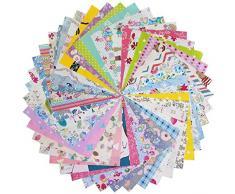 Qililandiy Tessuti Stoffe Patchwork Tessuto Stampato Cotone Tessuti e Stoffe a Metro Cotone Scampoli Stoffa Fatansia per Cucito Materiale per Hobby Creativo (100pz 15 * 15 CM)