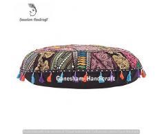 Ganesham artigianato indiano fatto a mano vintage patchwork cotone boho chic Boemia ricamato a mano decorativo etnico poggiapiedi cuscini & cuscino da pavimento rotondo Seating pouf ottomano (81,3 cm di diametro)