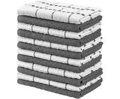 Utopia Towels - 12 Strofinacci da Cucina - Lavabili in Lavatrice (38 x 64 cm, Grigio e Bianco)
