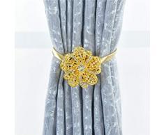 Vosarea 1 Pc Tenda Magnetica Tieback Portatile Senza Punzoni Magnete Tenda per Finestra Tenda Fibbia Tenda Cinghia Decorazione della Casa (Golden)