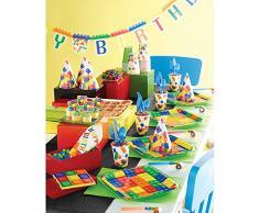 Creative Convertting Birthday Tablecover Tovaglia plastica 137 x 260 cm Block Party, Multicolore