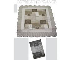 LOVELY HOME - Trapuntino Estivo Letto 1 Piazza e Mezza in Microfibra Copriletto France Patchwork Provenzale, Beige