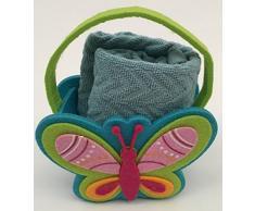 Set 2 pezzi composto da : 1 Asciugamano / asciughino cucina , in morbida spugna jacquard misura 40x60 cm, con bordature - 100% cotone - tinta unita - 1 Cestino Contenitore in Lana Cotta con farfalla a rilievo sempre in lana cotta