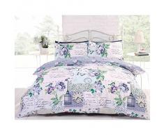 Just Contempo - Completo copripiumone per letto matrimoniale in fantasia patchwork, con rose, farfalle e cartoline in francese, Policotone, blu (verde bianco Navy grigio), King