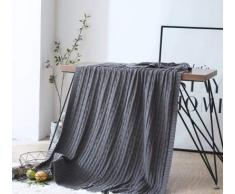 GEINIFAFA Coperte Rosa bianco blu grigio cotone stile twist fatto a mano soffice coperta coperta plaid lavorato a maglia divano divano 120x180 cm 180 * 200 cm