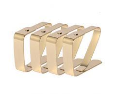 HUAFA 4 Pezzi Fermatovaglia,Rame di alta qualità placcato Ferma tovaglia, Fermatovaglia,Spessore massimo 3cm (Oro)