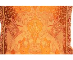 """Fodera per cuscino in seta Banarasi dall'India, per la decorazione, 40cm x 40 cm (16""""x16""""), disegno Elefante Extravaganza, bel divano letto di design, realizzato dal Kashmir, India."""