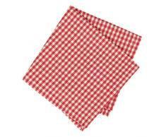 Dibor - - Set di 4 tovaglioli a Quadretti Rossi 100% Cotone Lavabile in Lavatrice