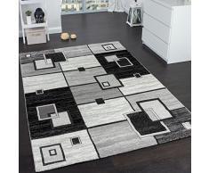 Tappeto Di Alto Design Quadrettato Pelo Corto Grigio Crema Nero Screziato , Dimensione:80x150 cm