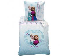 Disney Frozen, Set di biancheria da letto per bambini, 135 x 200 e 80 x 80 cm, Turchese (Türkis)