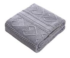 Lutanky Cozy coperta plaid in maglia di cotone naturale, coperta per divano letto (120 x 180 cm) (grey)