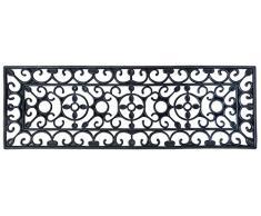 Esschert Design - Zerbino rettangolare in gomma, a lavorazione artistica, misura XS, circa 75 cm x 25 cm, colore: Nero
