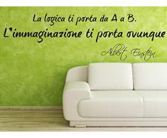 Adesiviamo Albert Einstein 2 L Adesivo Murale, PVC, Nero, 180 x 53 cm