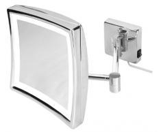 VELMA - SQUARE - LED220 3x - Esclusivo Specchio cosmetico / Specchio ingranditore / Specchio da trucco / Specchi per radersi illuminato a LED dal design elegante e senza tempo- Ingrandimento x3 - Orientabile - Allineabile alla