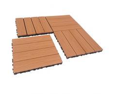 GARDENWOOD - PIASTRELLE IN LEGNO COMPOSITO WPC 30x30cm (Set 6 pz) (WOOD, effetto legno)
