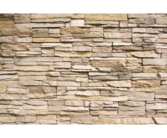 Muro di pietra FOTOMURALE - Asian Stonewall beige marrone XXL tappezzeria da parete /pietre decorazione da parete by GREAT ART (210 x 140 cm)