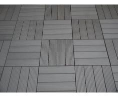 Piastrelle EVERFLOOR WPC da giardino (misto plastica/legno) profilo massiccio, grigio scuro 10 pezzi, 30 x 30 cm (ca. 0,9m2)