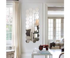 MOPOIN Piastrelle a specchio, autoadesive, 24 pezzi, adesivi esagonali, specchi, adesivi da parete, per casa, soggiorno, camera da letto, divano, TV, sfondo e decorazione da parete