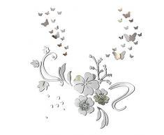 Specchio Adesivo da Parete Fiore 30pz Farfalle Decorativo Decorazione per Casa Camera Salotto Bagno Muro Porta Armadio