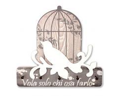 """Aracne Italy """"APPENDICHIAVI uccellino VOLA SOLO CHI OSA FARLO di colore bianco"""" 25x24 cm"""