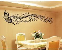 Blansdi PVC nero Animale Farfalla Musical Note murale decelerazione Wall Sticker 35X160cm