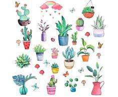 Pajaver Adesivi Murali Piante Verdi Cactus Fiori Adesivi da Parete Foglie per Finestre Decorazione Cucina Camera Letto Porte in Vetro