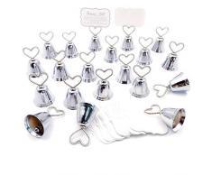 JZK 20 x Segnaposto campanelle cuore tirabaci bomboniera matrimonio battesimo compleanno Albero di Natale campana tirabaci