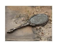 Chic Antique – Specchio a mano con stampa argento antico