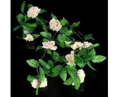 Pianta Artificiale Fiore Rosa Cadente Champagne per Decoro Casa Nozze