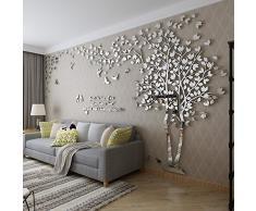 DIY 3D Enorme Albero delle coppie Adesivi da muro Cristallo Acrilico Decalcomanie da muro Wall Murals Decorazioni domestiche Wall Stickers Murali Arts (S, Argento, Sinistra)