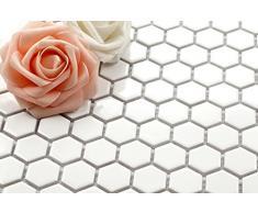 Hexagon struttura in ceramica mosaico piastrelle opaca in bianco (MT0089)