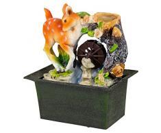 Cascata d'acqua Fontana per interni, effetto calmante Feng Shui scrivania top Feature, Deer Foal