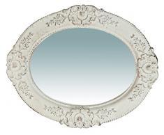 Biscottini Specchio Specchiera da parete stile Shabby in legno con finitura bianca anticata misure L32xPR2,5xH26 cm produzione Artigianato Fiorentino Made in Italy
