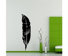 OurKosmos® Feather acrilico DIY 3D parete Specchio salone della casa di Bagno Decal Murales Wall Sticker (Nero)