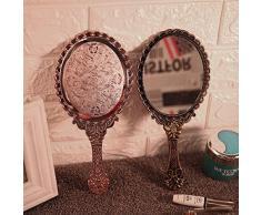 Specchietto per trucco vintage a mano specchio rosa Repousse floreale rotondo a mano ovale specchio cosmetico con maniglia per donna bellezza comò HAHA