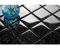 Piastrelle in Vetro cemento, a mosaico, 30 cm x 30 cm x 8 mm, opache, nero con strass (MT0088)