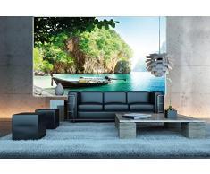 Spiaggia con barca FOTOMURALE- Barca in una baia tappezzeria da parete paradiso - isola Asia XXL decorazione da parete quadroby GREAT ART (140 x 100 cm)