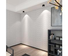 3D Brick Impermeabile Wall Sticker Mattone Decalcomania Carta Da Parati Auto pannelli Adesivi Sticker da Parete Murali Decorazione Soggiorno Decorazione Murale Background Wall Decals -Culater (Bianca)