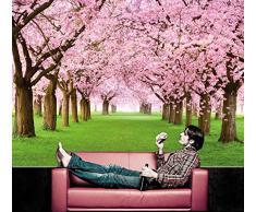 Albero di ciliegio FOTOMURALE - bosco con alberi di ciliegio - primavera rosa carta da parati quadro - alberi bosco decorazione da parete by Great Art
