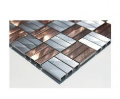In acciaio inox e vetro mosaico piastrelle a mosaico in acciaio inox - alluminio-mosaico - SILBER-BRONZE - 1 opaca