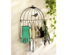 Wenko, 5857090500, Portachiavi da parete a forma di gabbia per uccelli, 8 ganci, in ferro, 35 x 42 x 8,5 cm