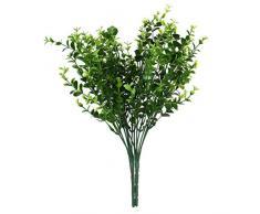 LEORX 2 Pcs casa piante Decorative plastica foglie pianta Aglaia Odorata per decorazione di nozze (verde)