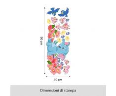 Wall Art R00223 Wall Sticker per bambini elefante su fiori, Wallpaper, Multicolore, 30 X 90 X CM